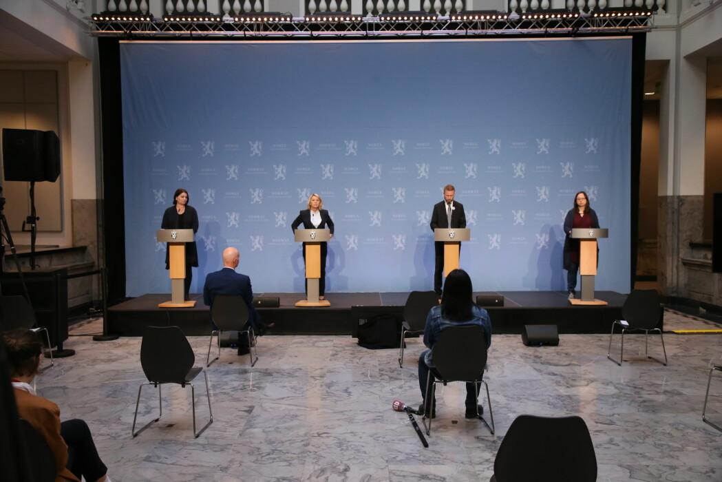 Onsdagens pressekonferanse om koronasituasjonen.
