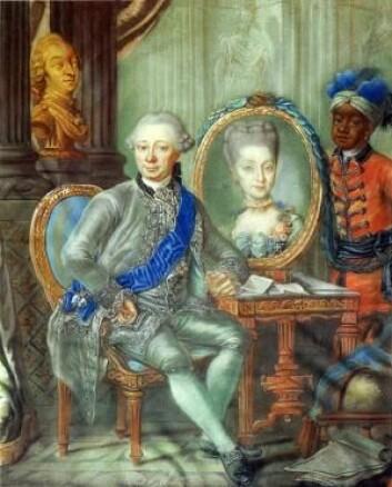 Den danske slavehandleren Heinrich Schimmelmann og pasjegutten hans. (Foto: (Illustrasjon: Lorenz Lönberg 1773))