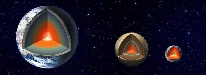 Jorda og Mars er såkalte jordlignende planeter med kjerne, mantel og skorpe. Helt til høyre ser du månen vår. (Foto: (Illustrasjon: JPL/NASA))