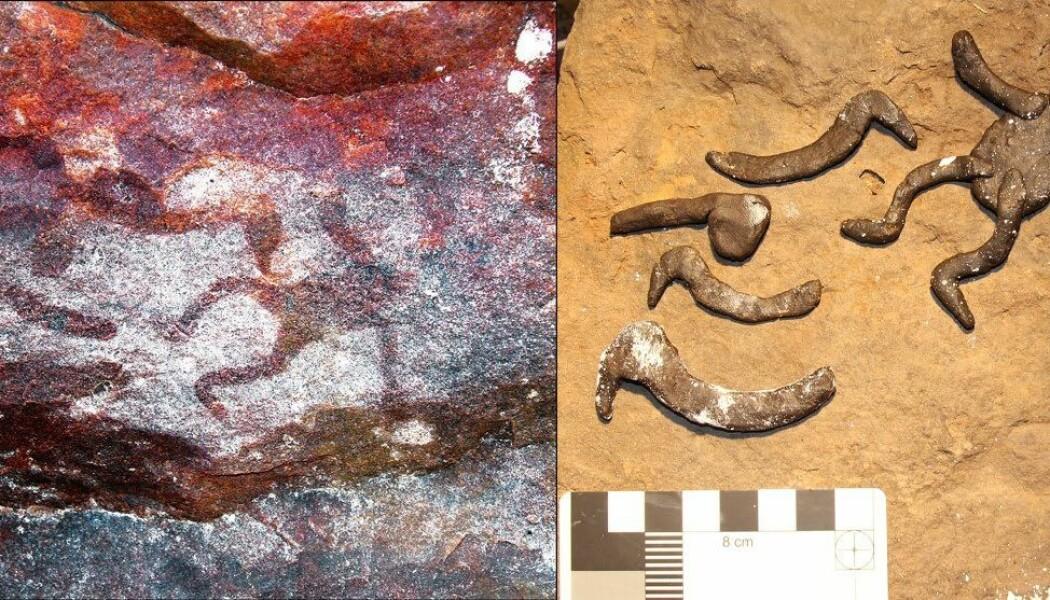 Til venstre kan du se det originale hulemaleriet, og til høyre er de eksperimentelle stensilene som forskerne har laget i forsøket. Målestokken sees nede til høyre i bildet.