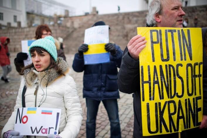Ukrainerne har i den senere tiden protestert mot Russlands metoder. (Foto: Lehtikuva, Reuters)