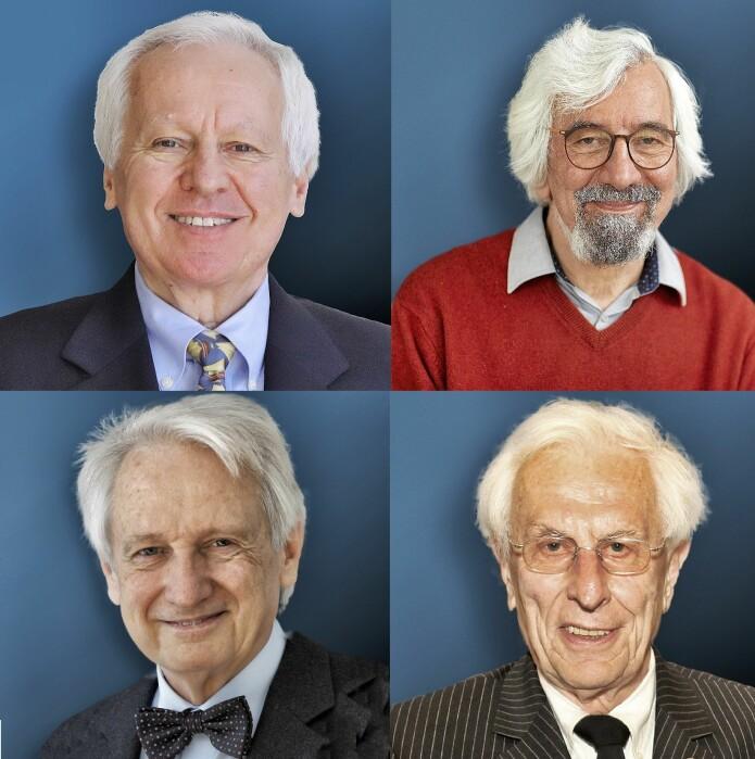Her er prisvinnerne i nanovitenskap. Øverst fra venstre: Ondrej L Krivanek, Maximilian Haider, Knut Urban og Harald Rose.