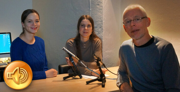 Fra venstre: Ida Kvittingen, Ingrid Spilde og Arnfinn Christensen hører du sammen med redaktør Nina Kristiansen i ukas podcast fra forskning.no. (Foto: Marianne Nordahl, forskning.no)