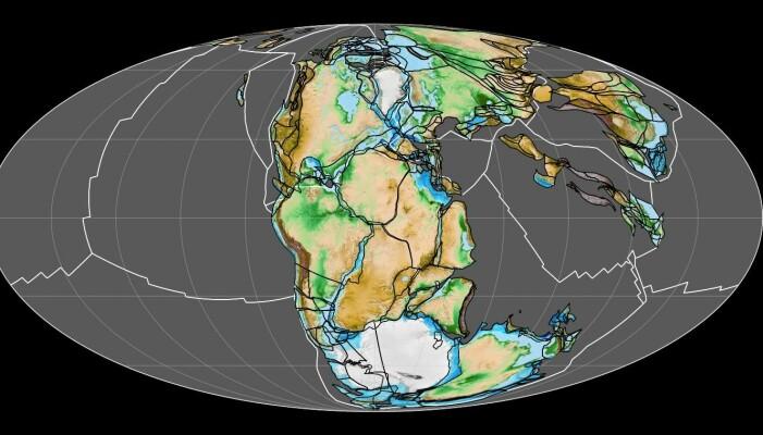 Superkontinentet Pangea eksisterte for omtrent 300-200 millioner år siden. En del av våre moderne kontinenter kan skimtes.