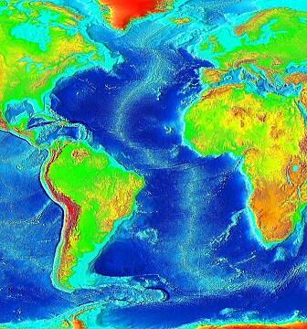 Dette dybdekartet viser den Midtatlantiske ryggen, som går tvers gjennom det Atlantiske hav (og Island)