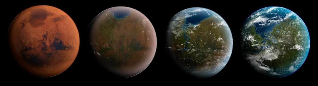 Slik tenker artisten seg hvordan Mars kan omskapes fra rød ørken til levende vannplanet.