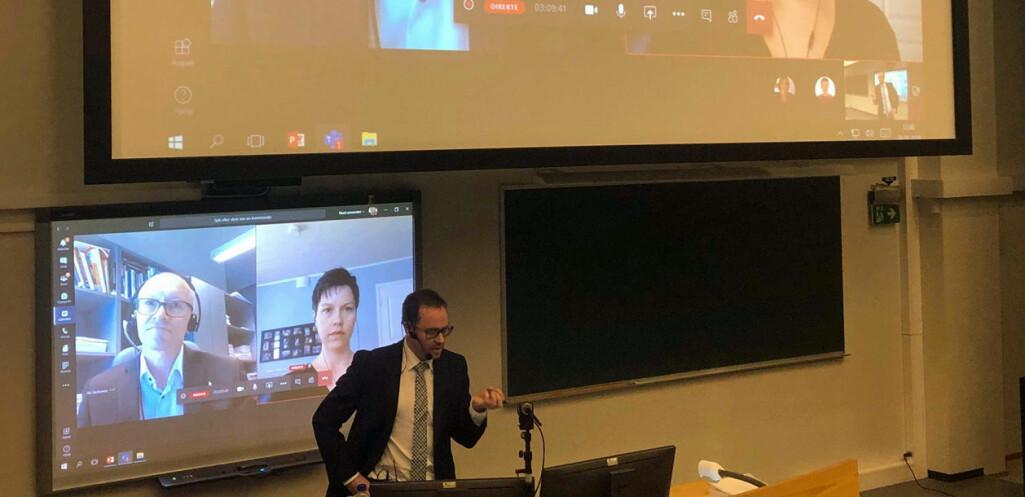 Digital disputas: Opponentene professor Ari Jantunen (Lappeenranta-Lahti University of Technology, Finland) og D.sc Taina Eriksson (University of Turku, Finland) deltok via Teams.