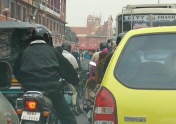 Trafikkork i Jaipur i India. (Illustrasjonsfoto: www.colourbox.no)