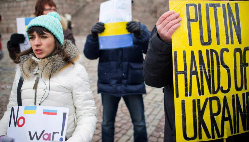 Ukrainerne har i den senere tiden protestert mot Russlands metoder. Lehtikuva, Reuters