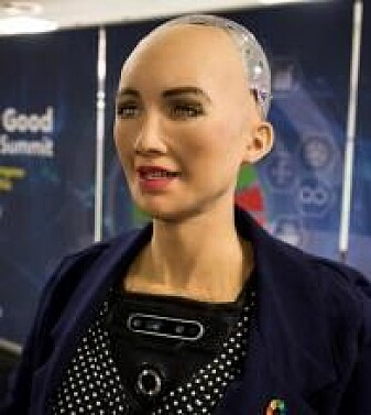 Roboten Sophia fotografert på konferansen AI for Good Global Summit i 2018.