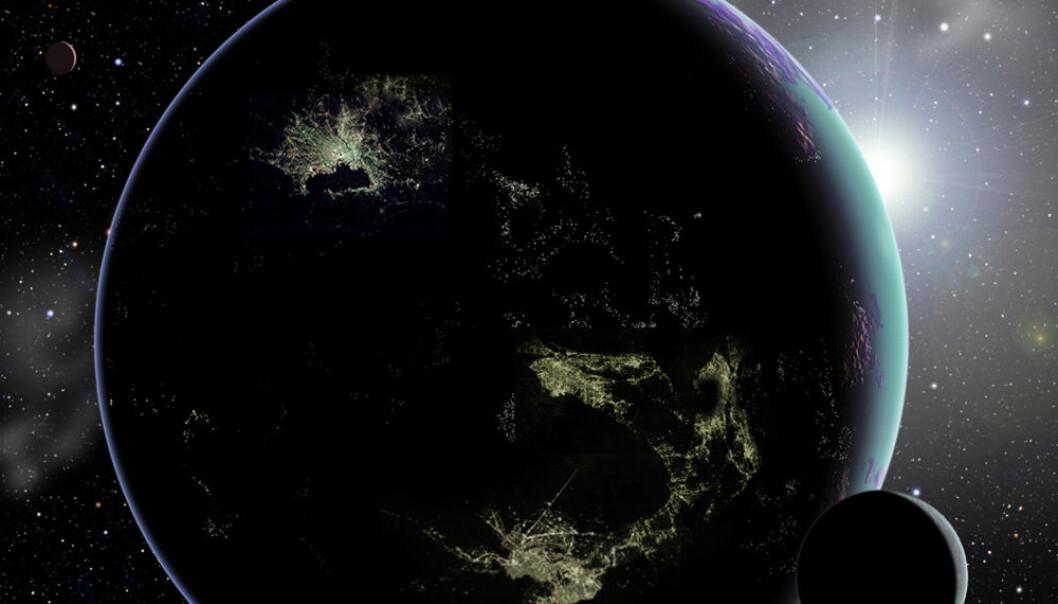 Hvis det finnes store opplyste byer på planeter rundt andre stjerner i Melkeveien, vil det være mulig å oppdage dem med framtidas teleskoper, mener Abraham Loeb og Edwin Turner. (Illustrasjon: David A. Aguilar/CfA)