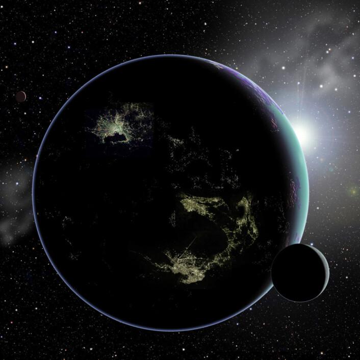 Hvis det finnes store opplyste byer på planeter rundt andre stjerner i Melkeveien, vil det være mulig å oppdage dem med framtidas teleskoper, mener Abraham Loeb og Edwin Turner. (Foto: (Illustrasjon: David A. Aguilar/CfA))