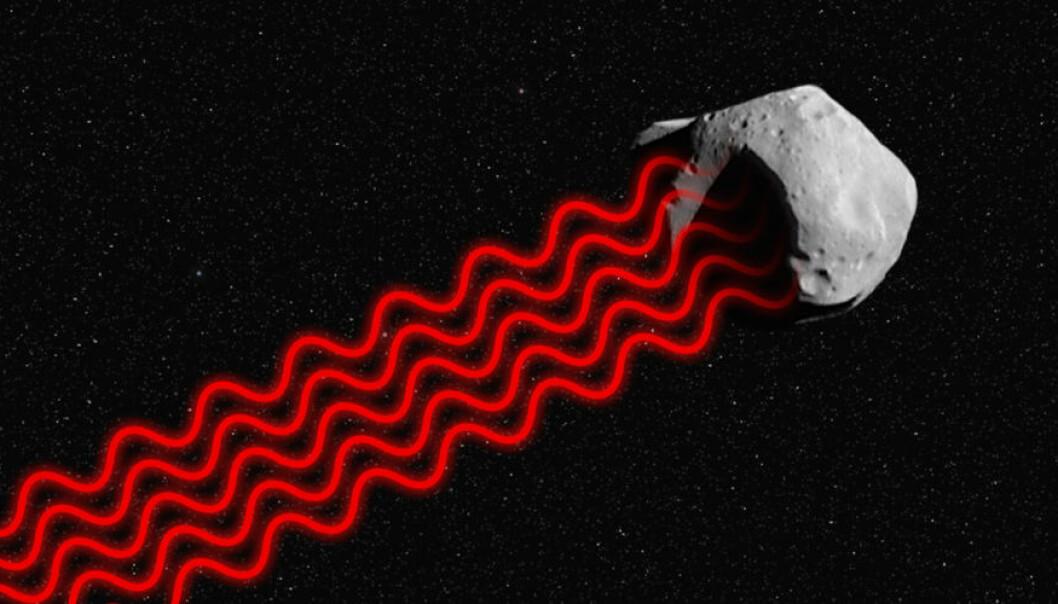 Laserlys svinger i takt, fordi det har en bestemt bølgelengde, det vil si farge. Det gjør laserlyset spesielt energirikt. Her illustreres hvordan laserlyset treffer overflaten av en asteroide. Refleksen av laserlyset kan fanges opp av store teleskoper på jorda, ifølge forslaget til Jane Luu, astronom ved MIT. (Figur: forskning.no/NASA)