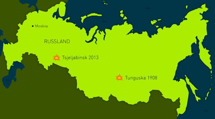 Tsjeljabinsk opplevde den kraftigste sjokkbølgen som er skapt av en meteor siden Tunguska i Sibir i 1908. (Foto: (Kart: David Brabrand/forskning.no))