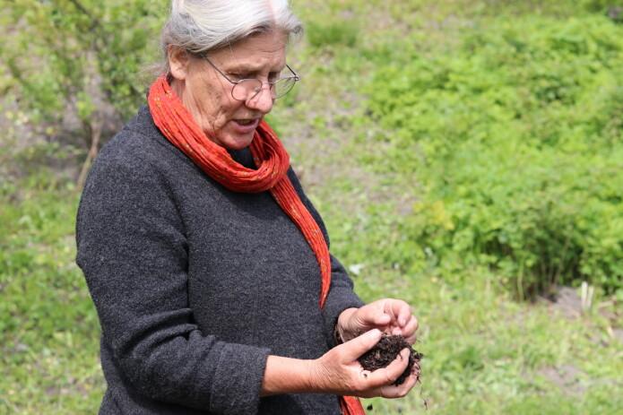 Linda Jolly bruker kumøkk i komposten. Men det er ikke så lett å få tak i. Av møkk er det kumøkk som er den beste, synes hun. - Kyr har fire mager fylt med milliarder av mikroorganismer. De mikroorganismene er også viktig for jorden, sier hun. Det går helt fint å kompostere uten husdyrmøkk også.