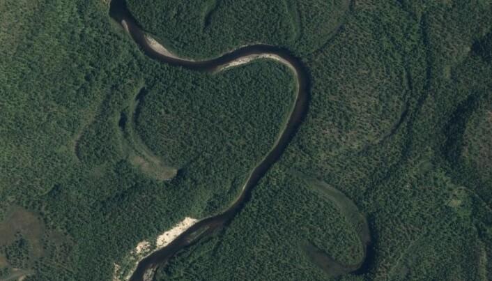 Naturlig meandrerende elv i Finnmark, med synlige kroksjøer.