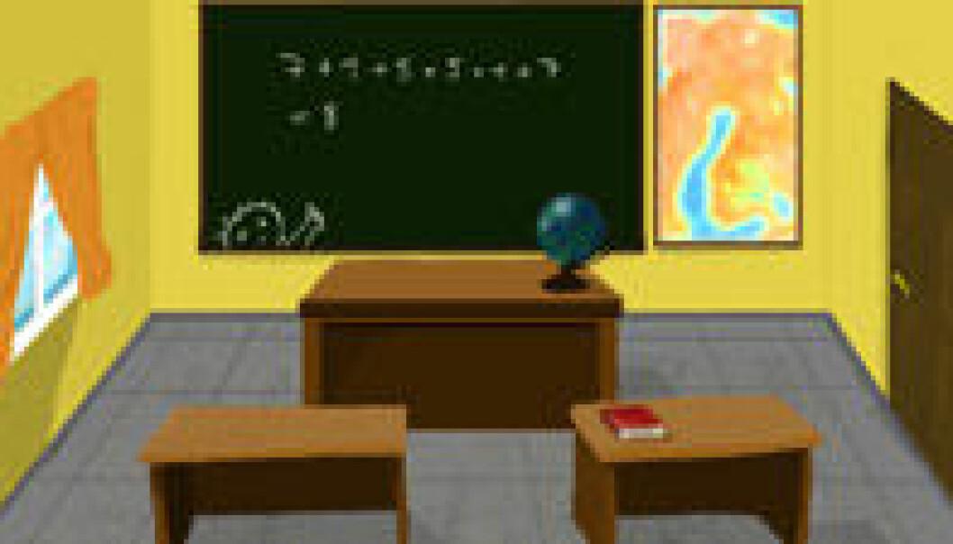"""""""Et klasserom på skolen. Finner vi noen av svarene her?"""""""