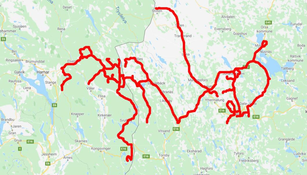 Omkring 1500 km kjørt under to ukers feltarbeid i slutten av mai 2020 i Hedmark, Värmland og Dalarna.