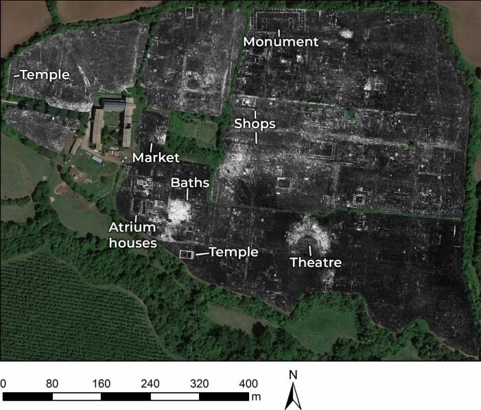 Slik ser kartet ut, med målingene lagt oppå et satellittbilde av Falerii Novi.