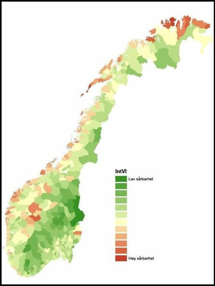 Dette kartet viser både fysisk og sosialt sårbarhet for norske kommuner. Rød=høy. Grønn=lav. (Klikk på forstørrelsesglasset for større kart.) En kommune som Oslo er lite fysisk sårbar for naturkatastrofer. Likevel kommer Oslo ut med nokså høy total sårbarhet, på grunn av befolkningens sosiale sammensetning. (Foto: (Illustrasjon: VULCLIM))