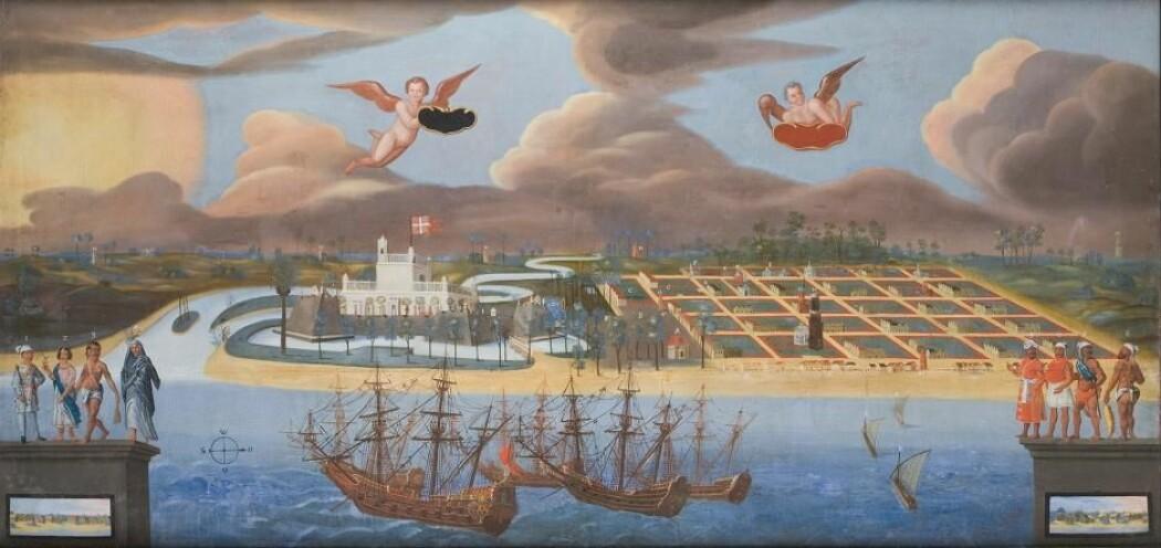 Det danske fortet Dansborg i Trankebar, malt om lag 1650. De åtte personene i forgrunnen representerer byens hinduer og muslimer. Maleriet tilhører Skokloster Slott i Sverige.