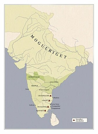 Kart med byer og stater som hadde en nayaka som hersker, som eksisterte i Sørøst-India i 1620.
