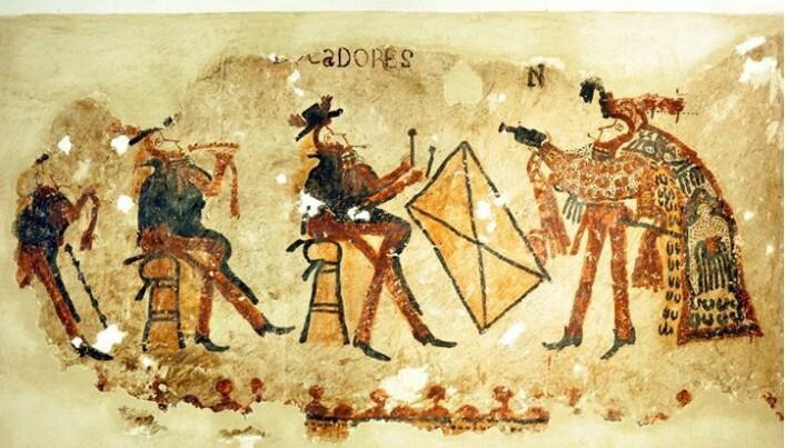 Denne delen av veggmaleriet viser flere musikere.