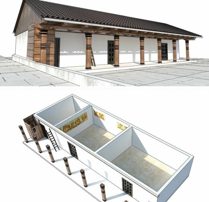 En 3D-modell av huset som veggmaleriet ble funnet i.