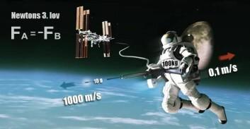 Hvis astronauten veier 100 kg med romdrakten sin, og han avfyrer en rifle som skyter ut et 10 gram tungt prosjektil med en fart på 1000 meter i sekundet, så vil den motsattrettede kraften resultere i at han beveger seg bakover med en fart på 0,1 meter per sekund. (Foto: (Illustrasjon: Mette Friis-Mikkelsen))