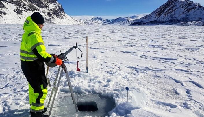 Prøvetaking fra isen på Gjende.