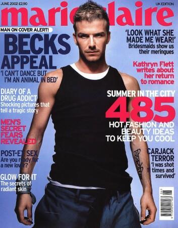 David Beckham var den første mannen som prydet forsiden på magasinet Marie Claire i 2002. (Foto: Scanpix/Reuters)