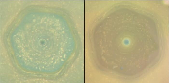 Stormen sett fra Cassini, sett i 2012 og 2016. Fargene endret seg gjennom denne tiden, som kan ha med eksponering av sollys å gjøre.