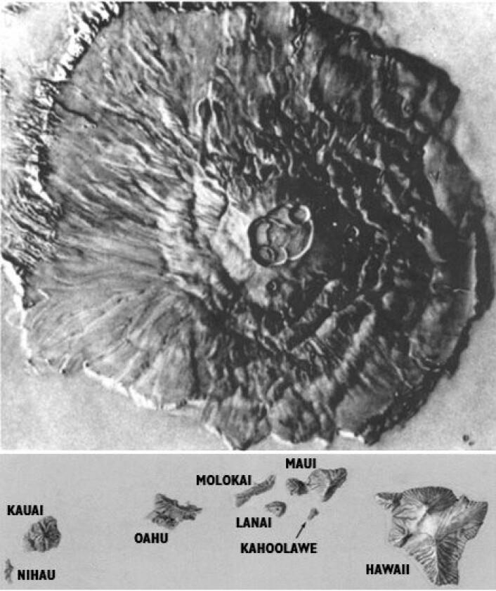 Illustrasjonen av Olympus Mons på Mars (øverst), i samme skala som hele rekken av vulkanøyer ved Hawaii (nederst) gir et inntrykk av denne kolossen, som måler 550 km i diameter. (Foto: (Illustrasjon: USGS))