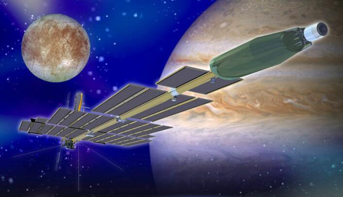 Prometheus I, som var planlagt sendt til Jupiters måner ved hjelp av en atomrakett. Planene ble skrinlagt i 2005. (Illustrasjon: NASA)
