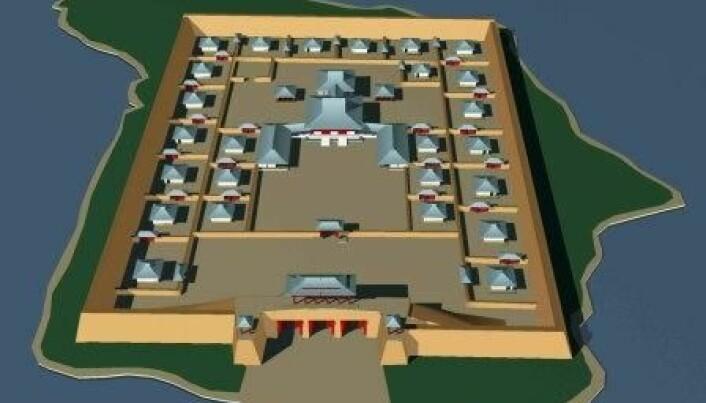 En 3d-modell av hvordan anlegget kan ha sett ut da det var nytt.