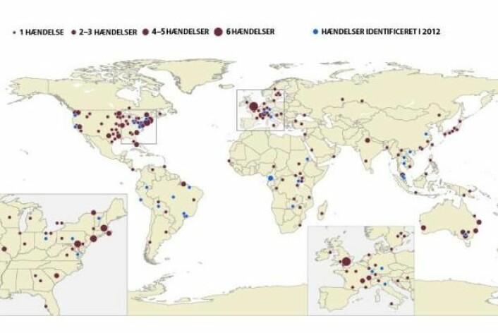 Kartet gir en oversikt over alle nåværende «hotspots» i verden. Dette er områder hvor det skjer mistenkelig mange sykdomsutbrudd. Hvert prikk svarer til at en eller flere av 100 innbyggere årlig blir smittet med et dyrevirus. På hotspots muterer virus ofte kraftig fordi de tilpasser seg sin nye vert, mennesket. Disse mutasjonene kan gjøre virusene mer dødbringende og smittsomme. (Foto: (Illustrasjon: Mette Friis-Mikkelsen, Videnskab.dk))