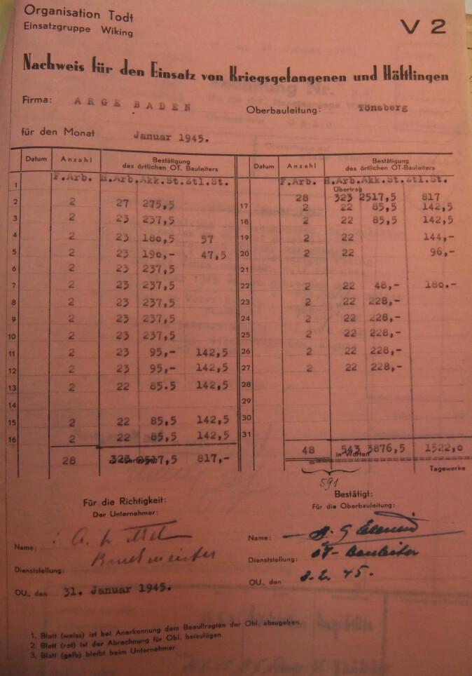 Regnskap fra bedriften Arbeitsgemeinschaft Baden som dokumenterer bedriftens bruk av sovjetiske krigsfanger i Tønsberg-området i januar 1945.
