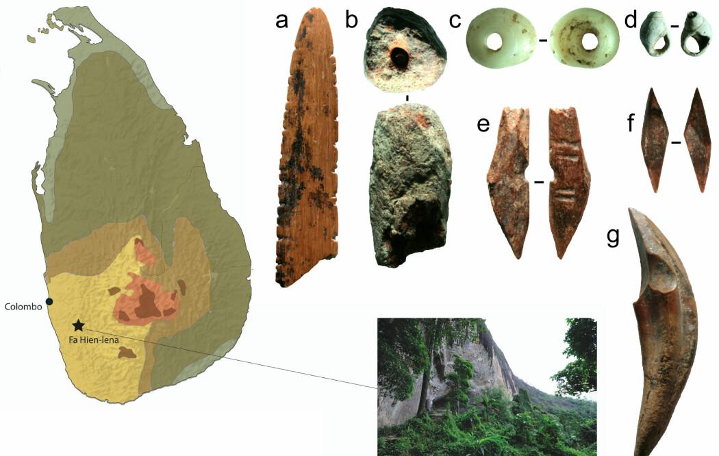 Bildet viser et lite utvalg av forskjellige funn fra denne hulen på Sri Lanka. Perler (C) og mulige pilspisser (e)