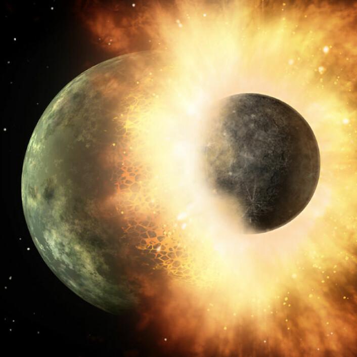 Vannet ble presset ut av jordskorpen og dannet havene rundt 150 millioner år etter at planeten Theia kolliderte med jorda og rev løs det som ble månen, for rundt 4,5 milliarder år siden (Illustrasjon: NASA/Caltech)