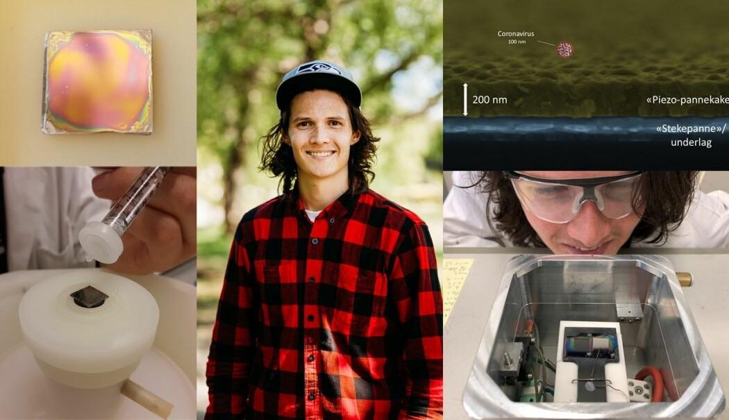 Bildet øverst til venstre: dette er materialet Nikolai lager, bildet nederst til venstre: han drypper røre ned på stekeplata. Bildet midten: Nikolai Helth Gaukås. Bildet øverst til høyre: Her ser vi materialet gjennom et elektronmikroskop. Bildet nederst til høyre: Nikolai ser på ovnen de bruker til å steke materialet.