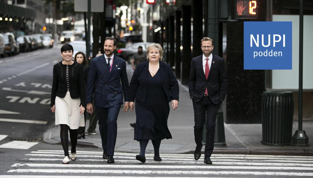 VEIEN MOT SIKKERHETSRÅDET: Utenriksminister Ine Eriksen Søreide, kronprins Haakon, statsminister Erna Solberg og daværende utviklingsminister Nikolai Astrup under FNs høynivåuke i 2018.