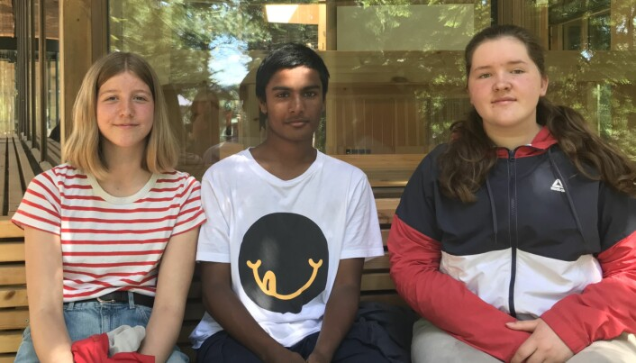 Kaisa, Akasch og Nelly likte besøket på Klimahuset.