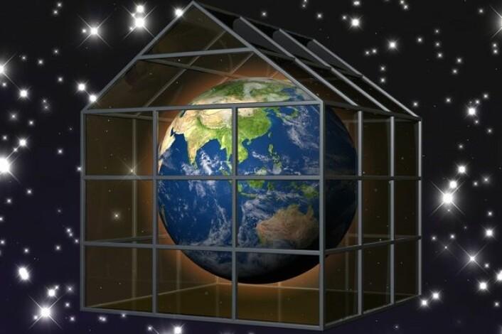 Den naturlige drivhuseffekten gjør at det er levelig på jorda. Med den menneskeskapte forsterkningen av drivhuseffekten skaper vi problemer for livet på jorda. (Foto: (Illustrasjon: www.ourplanet.org.uk))