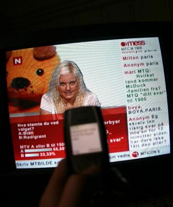 """""""Her et skjermbilde fra det sms-baserte programmet mess TV på TVNORGE. Foto: Andreas R. Graven."""""""