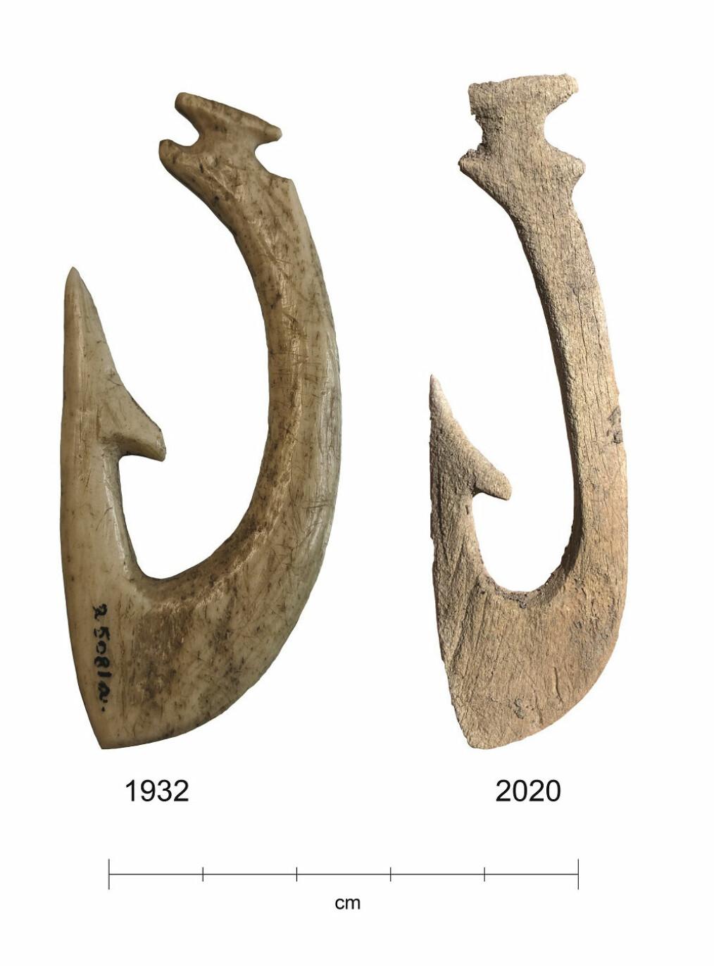 Ekstremt gode forhold i myra har bevart de 5000 år gamle beinredskapene svært godt. Men etter at myra ble drenert, er bevaringsforholdene endret. Fiskekroken funnet i 2020 er i klart dårligere stand enn kroken funnet i 1932.
