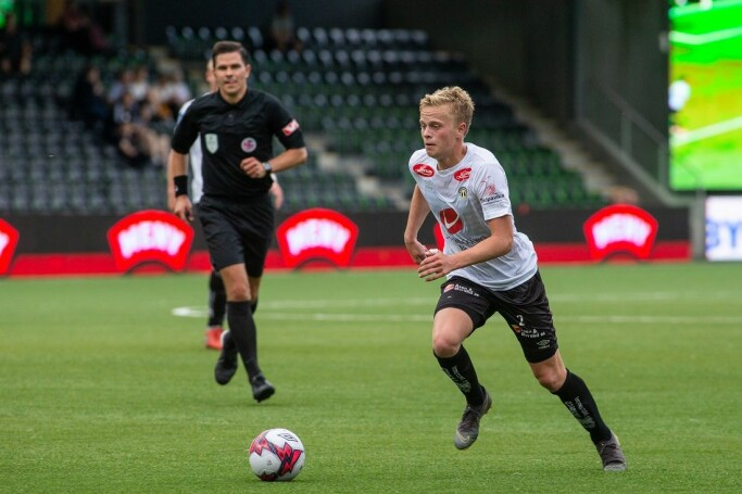 Norwegian division 1 football players in 2019, in Fosshaugane. The photo shows Sogndal Football Club's Tomas Olai Totland.