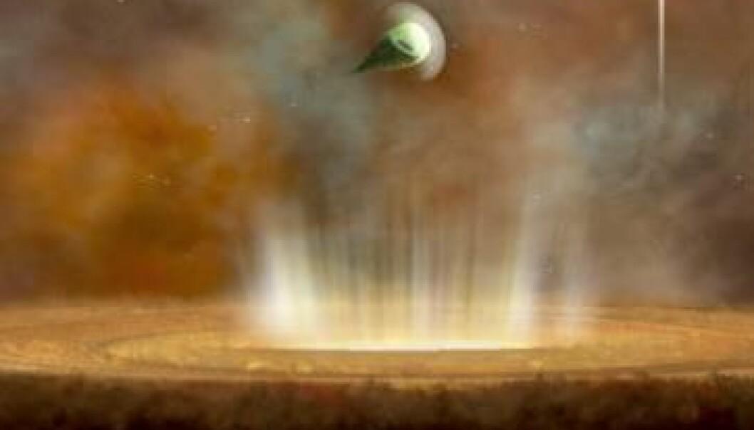 Denne kunstneriske fortolkningen viser hvordan livet som protostjerne kunne se ut. Nederst en protostjerne pakket inn i sin protoplanetariske skive av støv og gass. Over den svever en lignende stjerne, samt type o-stjernen øverst til høyre. Den har fjernet hele den protoplanetariske skiven og dermed mulighetene for å danne planeter. Merk den karakteristiske dråpeformen som leder støv og gass vekk i motsatt retning av kjempestjernen. (Illustrasjon: NRAO/AUI/NSF; B. Saxton)