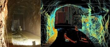 Foto og laserskannet bilde fra sandfanget i Tonstad kraftverk. (Foto: (Illustrasjon: Cedren))