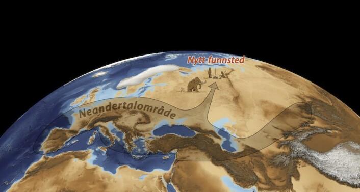 Kartet viser isdekket over Skandinavia for 25 000 til 20 000 år siden og stedet der bergensforskerne fant spor av neandertalere. Det brune området markerer hva som tidligere var kjent som neandertalernes utbredelsesområde. (Illustrasjon: Science/AAAS)