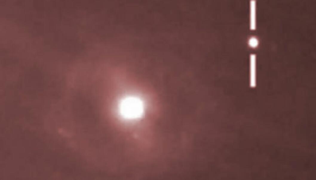 Den mulige supernovaen nær galaksen M95 i stjernebildet Løven. Nik Szymanek, via YouTube-video